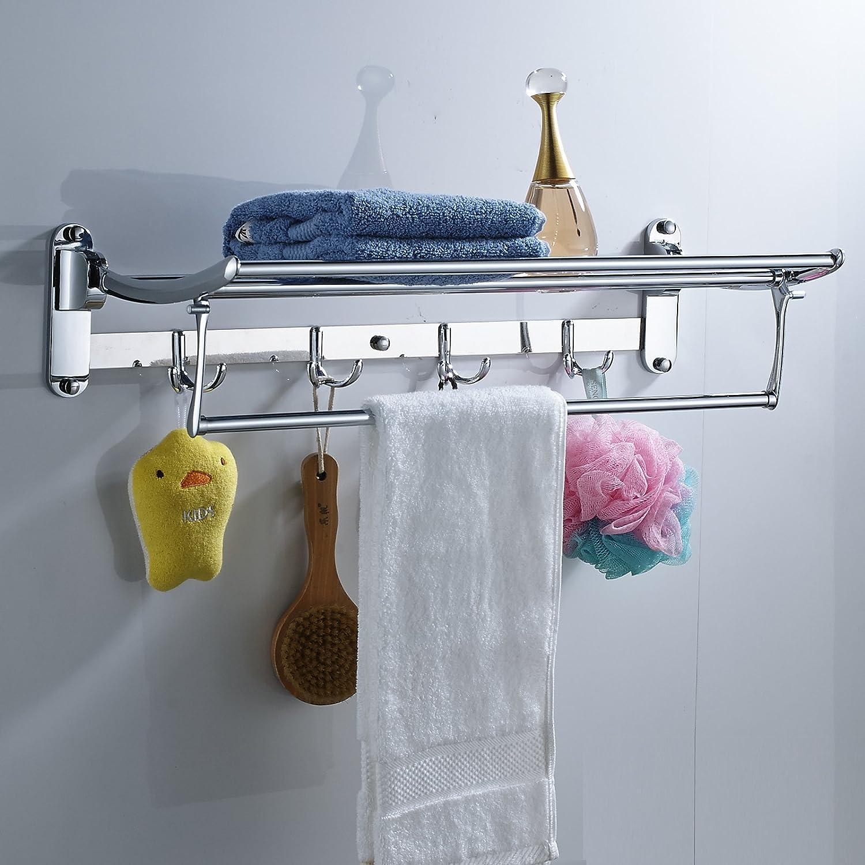 Senlesen 24 inches Chrome Active Folding Towel Rack Towel Shelf ...