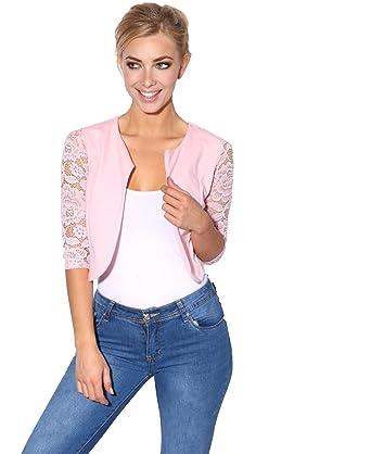 KRISP ® en Crochet Femme Filet de Protection en Dentelle Transparente  Culture Courte de boléro Cardigan f752ba0a1d7c