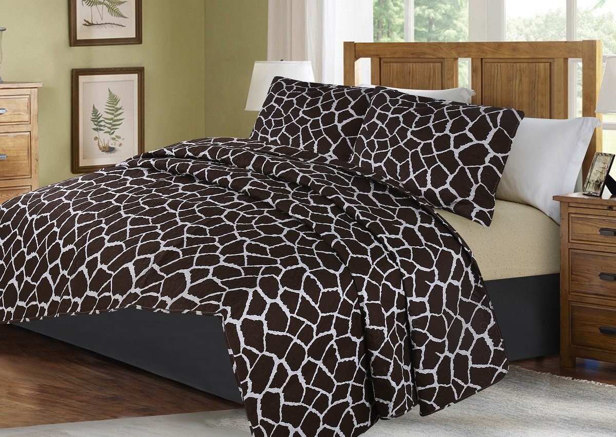 GorgeousHome African Wild Jungle Animals Bedroom Printed Quilt Bedspread Pinsonic Bed Dressing Bedding Cover 2/3pc Set in 3 Sizes Assorted (ANIMAL #4 JIRAFE, TWIN)