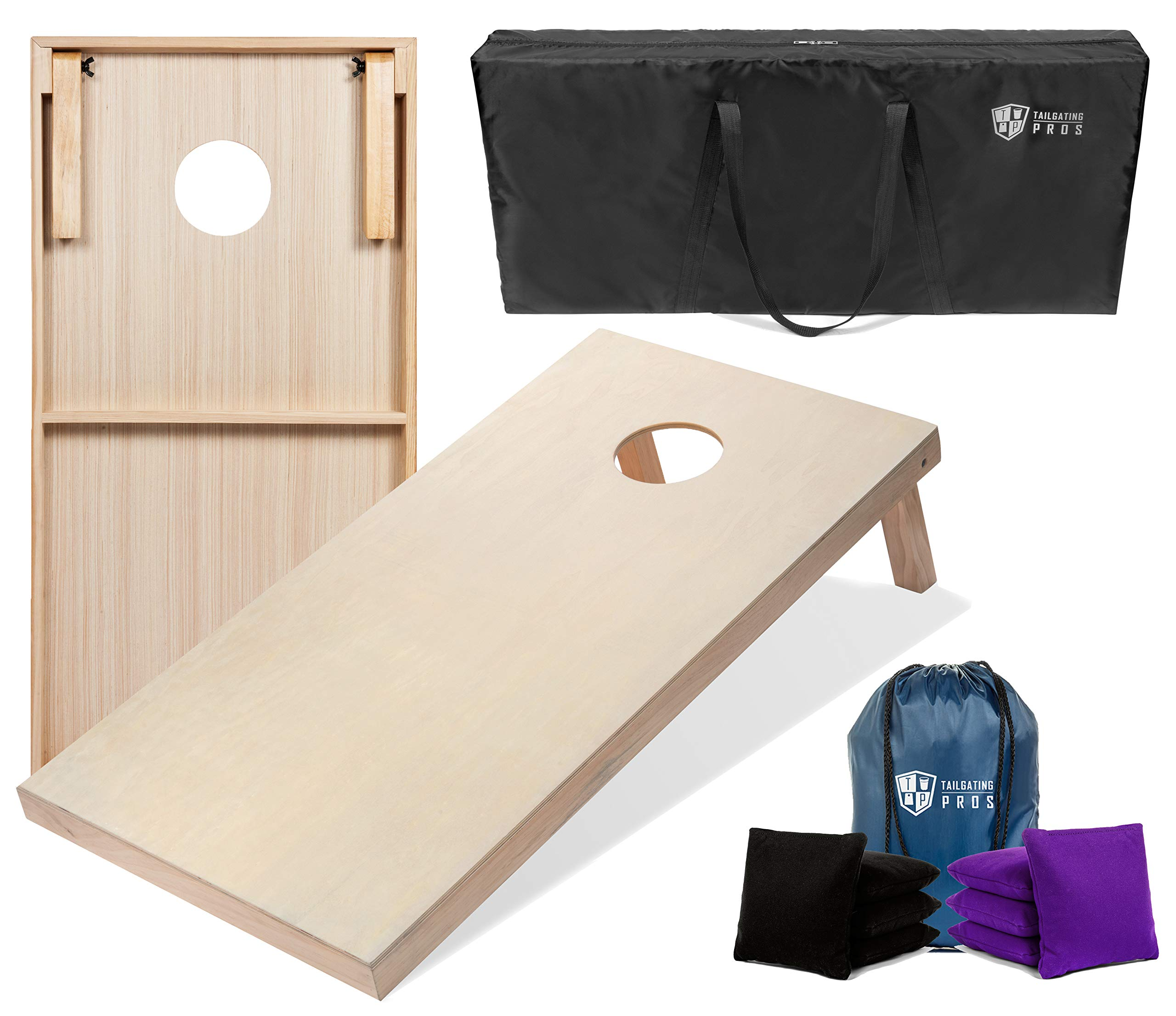 Tailgating Pros 4'x2' & 3'x2' Cornhole Boards w/Carrying Case & Set of 8 Cornhole Bags (You Pick Colors) 150+ Color Combos! (Black/Purple, 4'x2' Boards) by Tailgating Pros