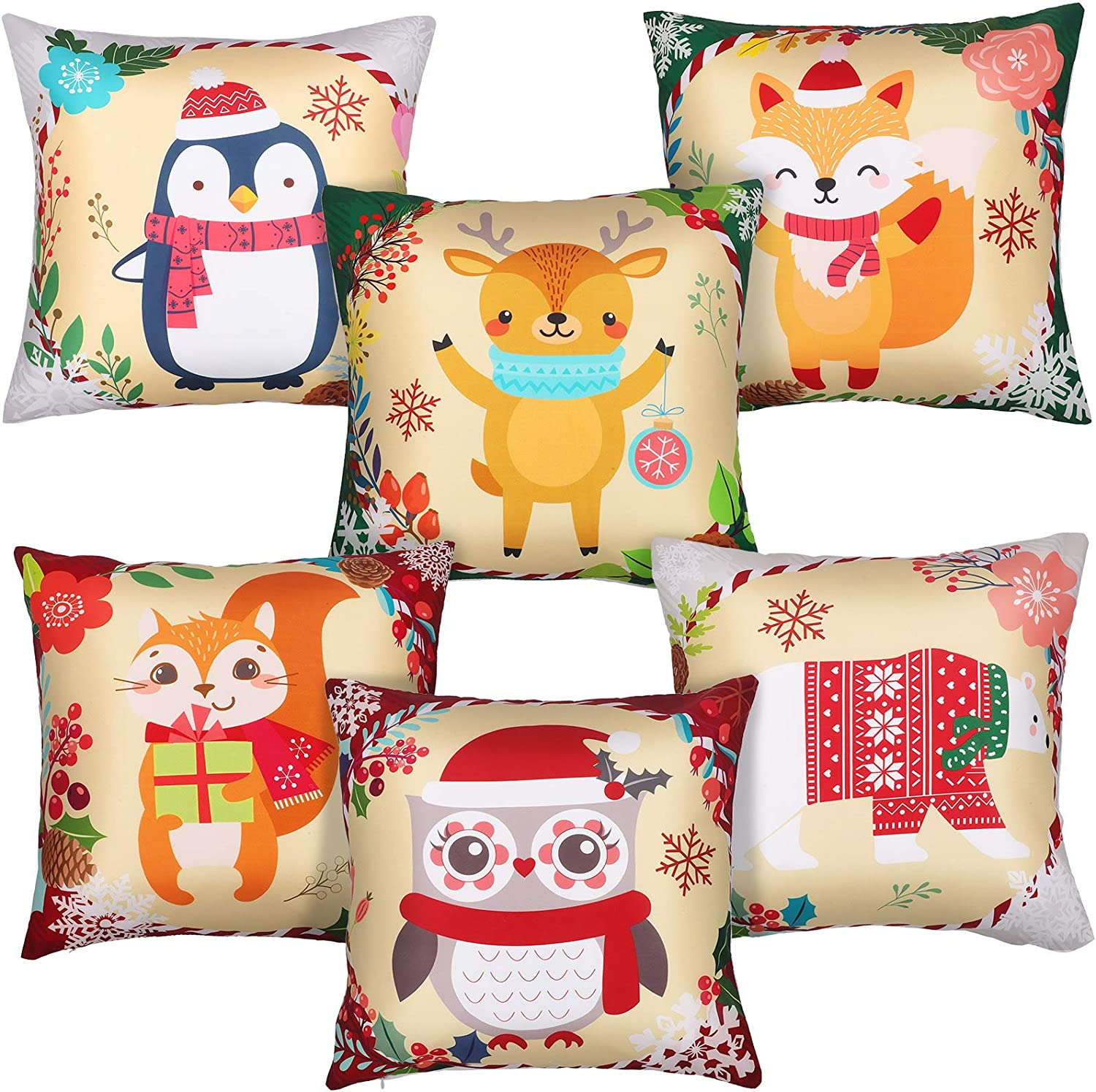 6 Pieces Christmas Animal Throw Pillow Covers Xmas Animal Cushion Cases 18 x 18 Inches Bear Design Winter Animal Theme Pillow Holiday Decor for Christmas Bedroom Sofa Decorations