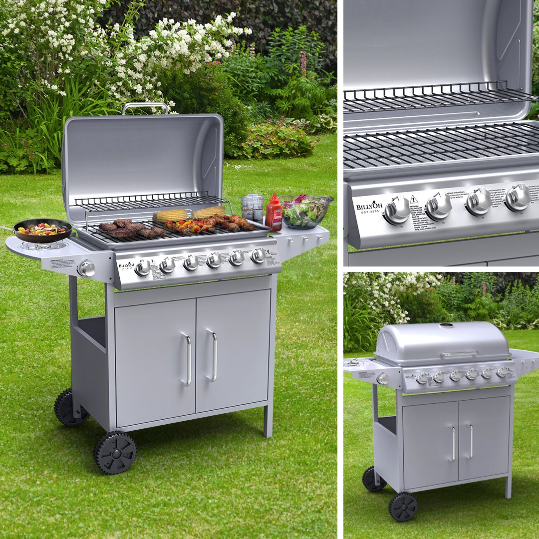 BillyOh Matrix Gas BBQ 6 Burner + 1 Side Burner, Silver Powder Coated Gas Grill, Stainless Steel Outdoor Barbecue, Lightweight Hooded Gas BBQ 28066