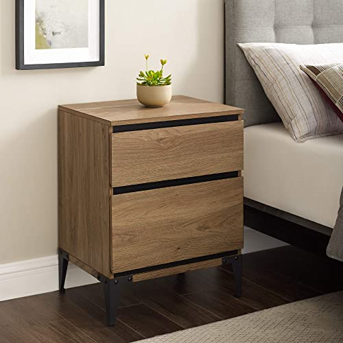 Walker Edison Modern Wood Rectangle Side Nightstand Living Room Storage Small End Table, 2 Drawer, English Oak Brown