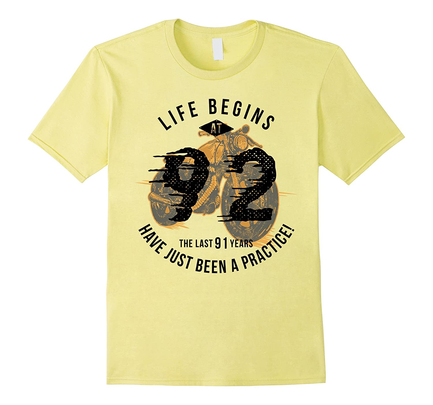 Life Begins at 92 - Vintage 92nd Birthday Gift T-Shirt-PL