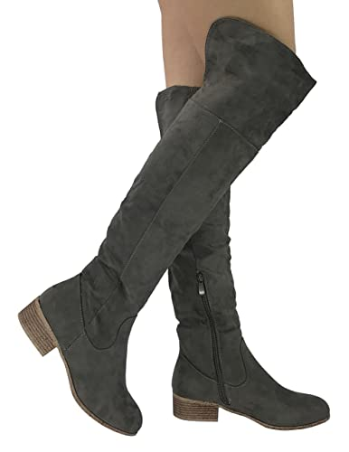 48ce93646e9f Nature Breeze Womens Arthur Over The Knee High Tall Riding Boots with Fold  Down Cuff