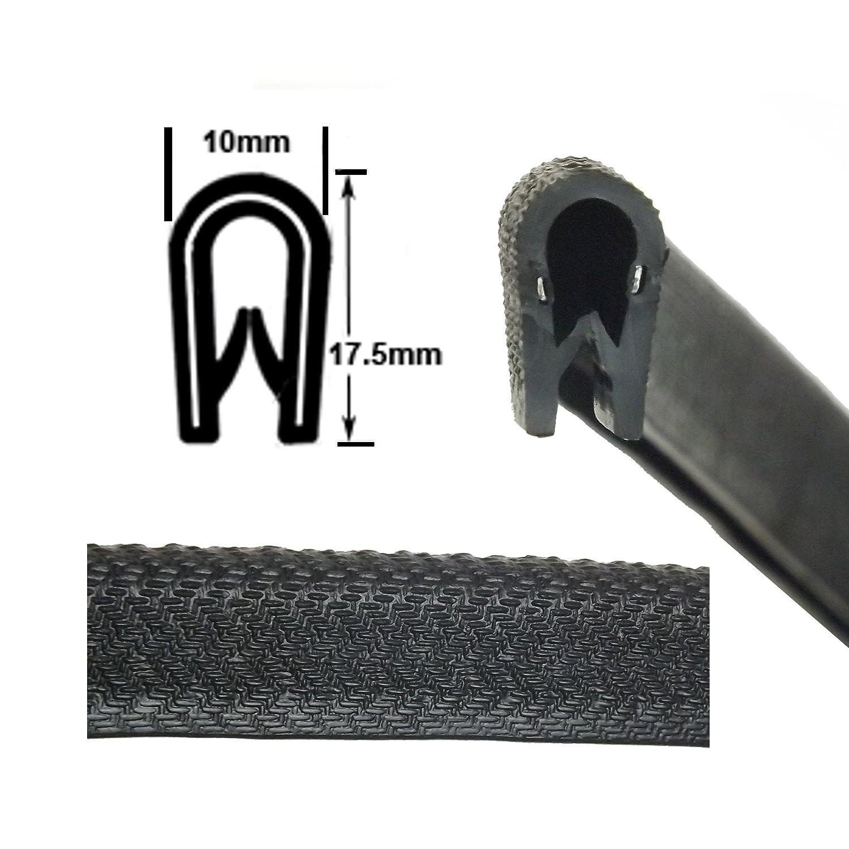 Medium black rubber car edge protective trim 17.5mm x 10mm The Metal House