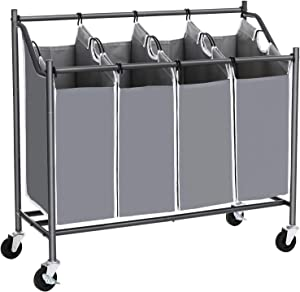 SONGMICS Laundry Cart Sorter, Rolling Laundry Basket Hamper, Casters and Brakes, Gray URLS90GS