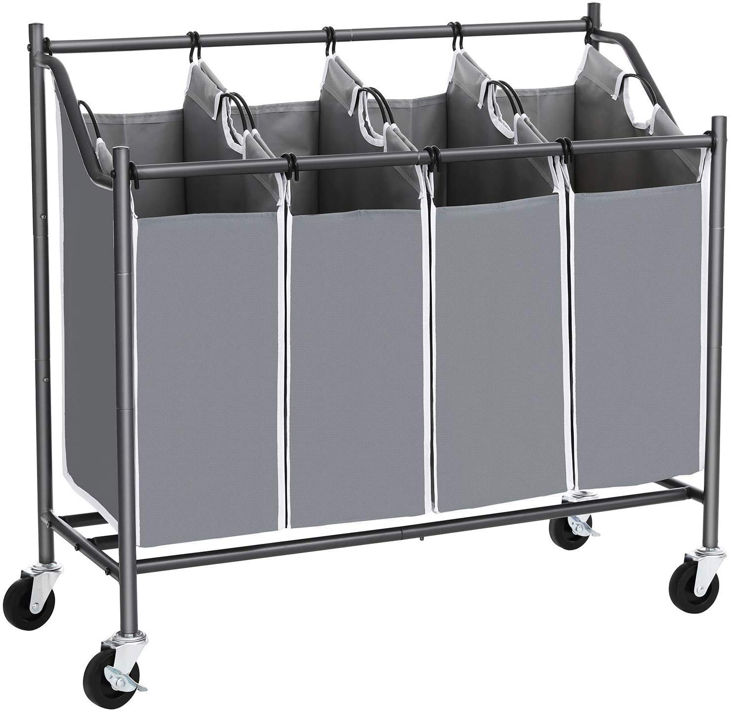 SONGMICS 4-Bag Laundry Cart Sorter, Rolling Laundry Basket Hamper, with 4 Removable Bags, Casters and Brakes, Gray URLS90GS by SONGMICS