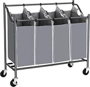 SONGMICS Cart Sorter, Rolling Laundry Basket Hamper, with 4 Removable Bags, Casters and Brakes, Gray URLS90GS