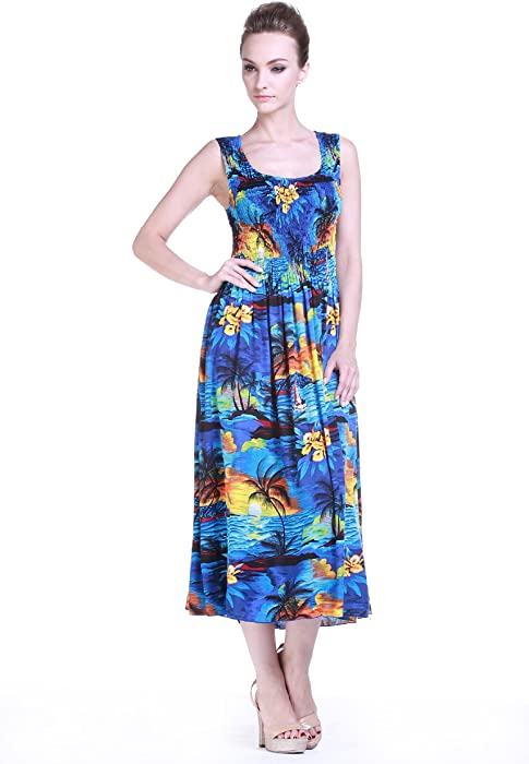 2ded82318d1b Women s Hawaiian Maxi Tank Elastic Luau Dress Sunset Blue at Amazon ...