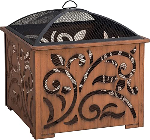 Sunjoy A301016900 Lyra 26 in. Square Wood Burning Firepit, Copper