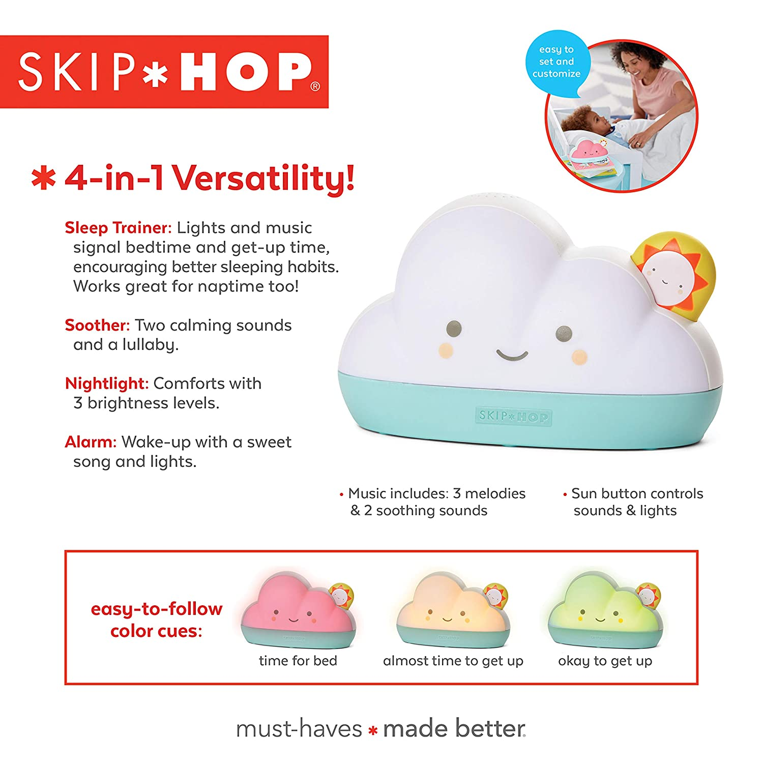 Amazon.com: Skip Hop Dream & Shine - Reloj despertador y luz ...