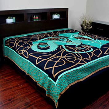 Marvelous Celtic Dragon Tapestry Coverlet Bedspread Home Decor