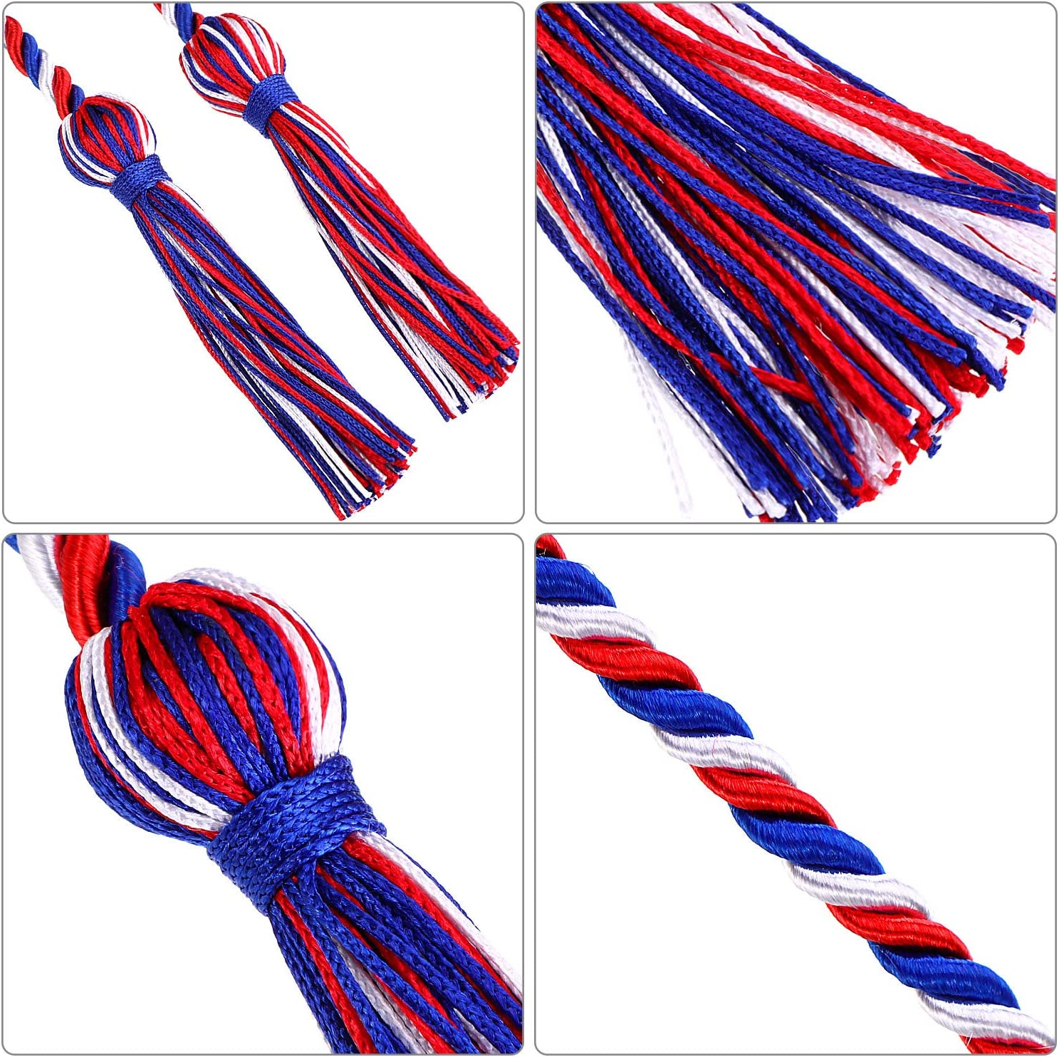 Red 6 Pieces Honor Cord Graduation Cord with Tassel Braided Grad Days Honor Cords for School Graduation Ceremony Party