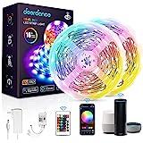 Deerdance Smart LED Strip Lights, 32.8feet Works with Alexa Google Assistant APP Control Music Sync 16 Million Colors 5050 RG