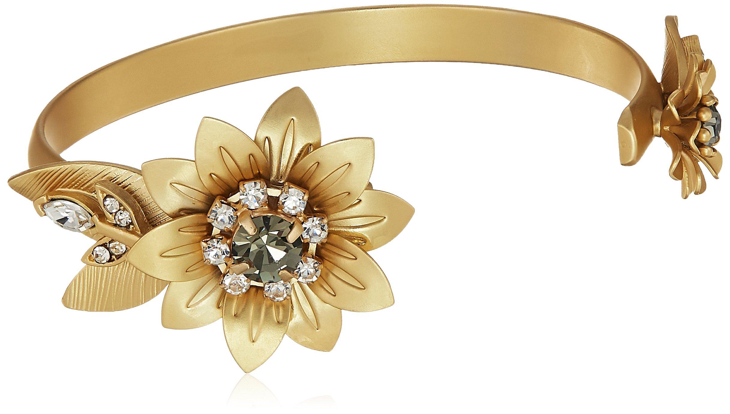 Badgley Mischka Women's Petal Gold Cuff Bracelet, One Size