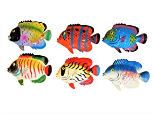 Multi-color Exotic Set of (6) Decorative Tropical Wall Decor Fish with Free Fish Net