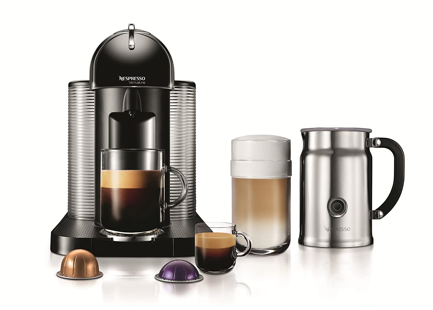 Nespresso VertuoLine Coffee and Espresso Maker with Aeroccino Plus Milk Frother, Black Discontinued Model