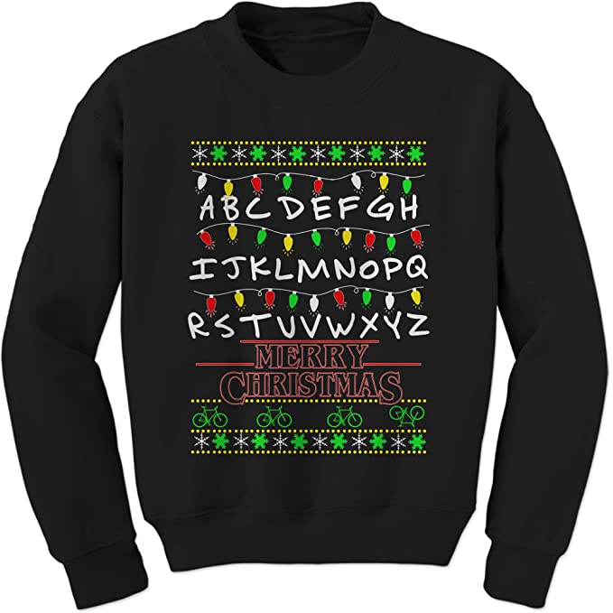 Stranger Things Christmas Sweater.Expression Tees Strange Merry Christmas Ugly Holiday Crewneck Sweatshirt