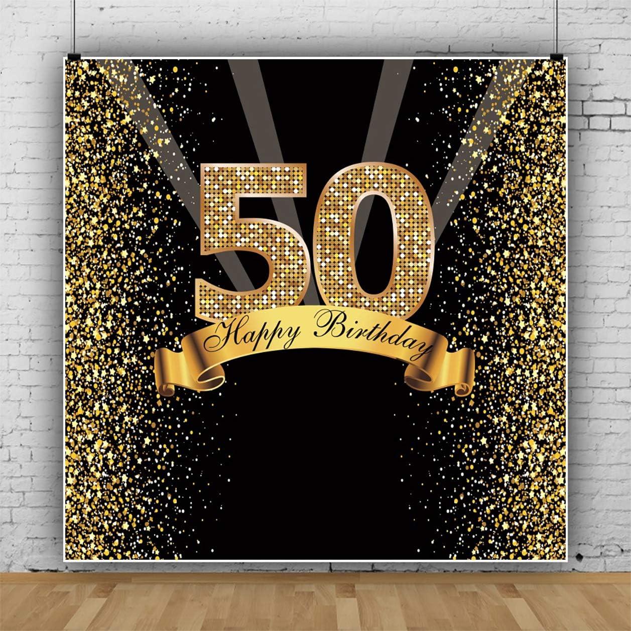 Yeele Gold 50th Birthday Backdrop for Woman Man 6x6ft Glitter ...