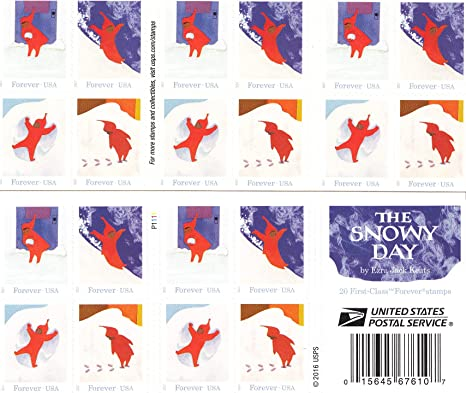 Amazon Com The Snowy Day Usps Forever Stamps Book Of 20