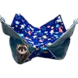 FULUE Ferret Rat Hammock Bed, Ferret Nation Cage Accessories Kit Set Staff House and Hideouts Cave for Guinea Pig Ferret