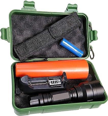 LA) Linterna policia LED incluye batería litio recargable ...
