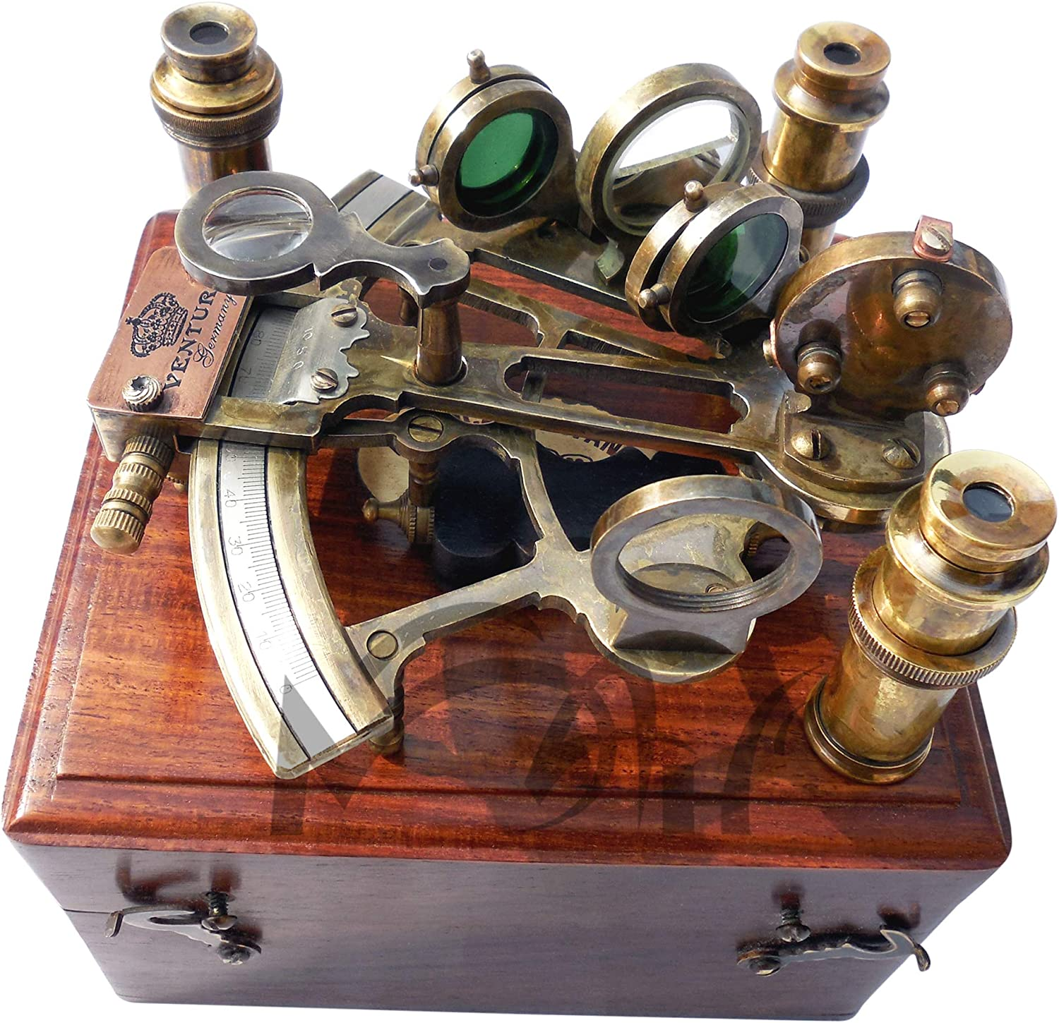 ANTIQUE BRASS GERMAN ASTROLABE NAUTICAL MARINE SEXTANT /& COLLECTIBLE WOODEN BOX