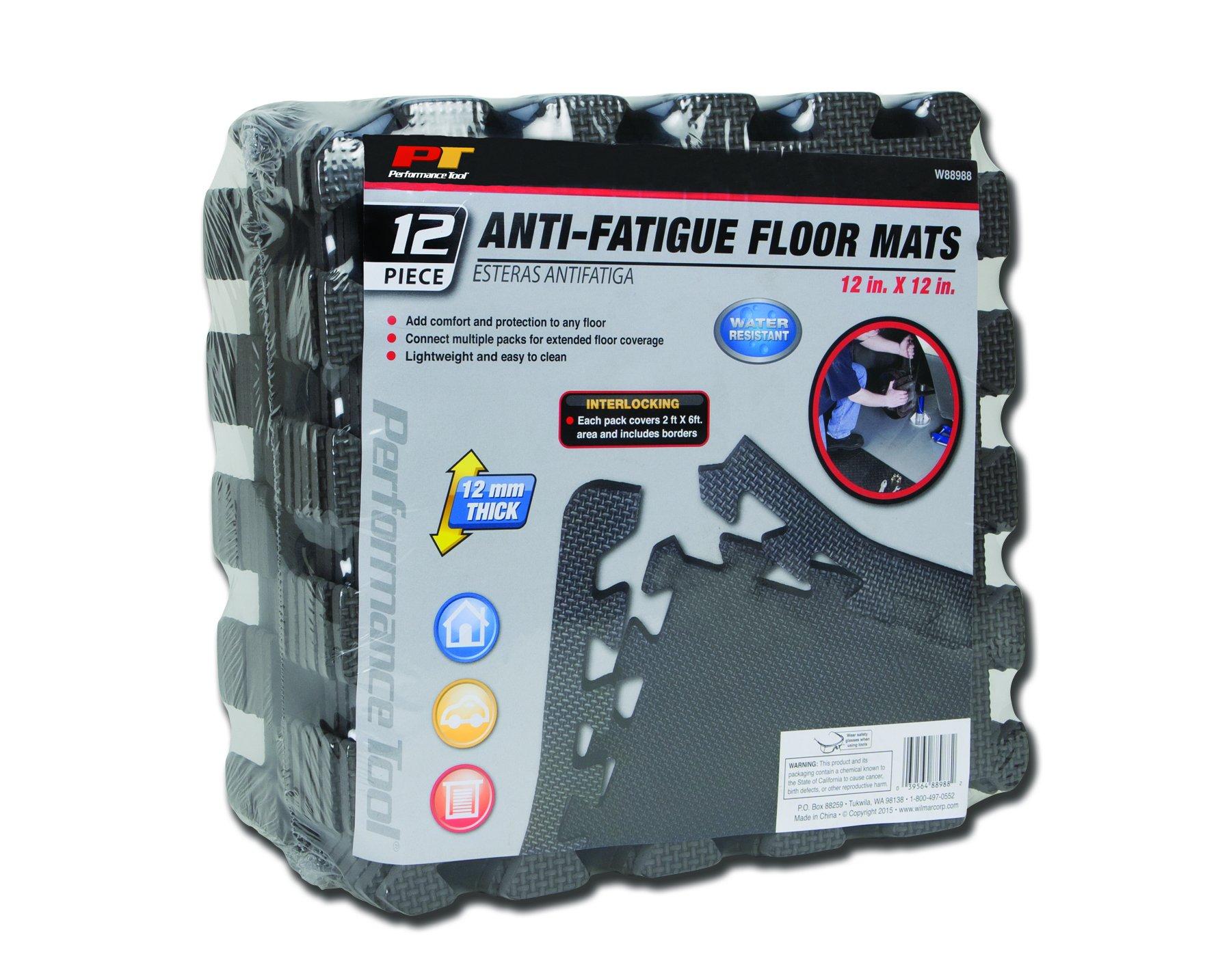 Performance Tool W88988 12'' X 12'' Protective Diamond Shape Anti-Fatigue Interlocking Floor Mat (12 Square Feet)