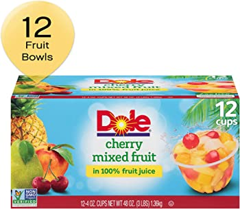 Dole Fruit Bowls 12 Count of 4 Oz Cherry Mixed Fruit in 100% Fruit Juice