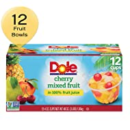 DOLE FRUIT BOWLS, Cherry Mixed Fruit in 100% Fruit Juice, 4 Ounce (12 Cups)