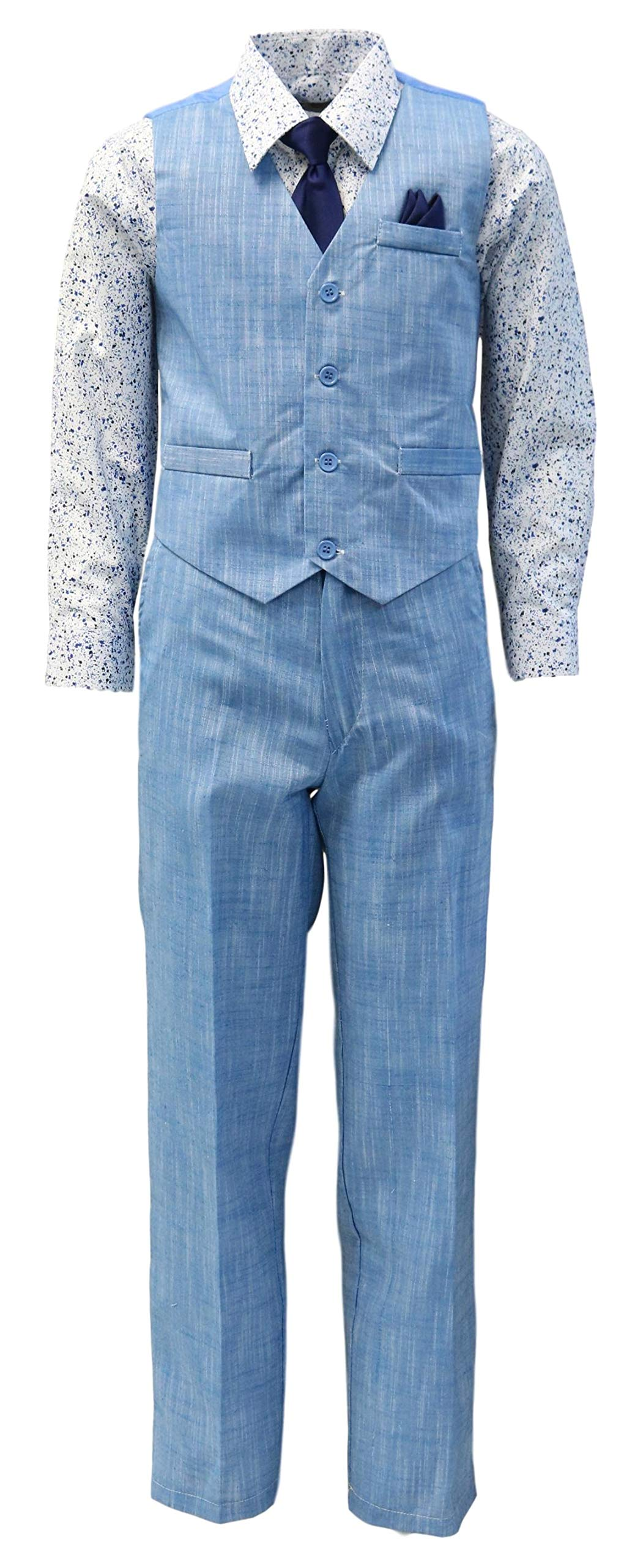 Vittorino Boy's Linen Look 4 Piece Suit Set with Vest Pants Shirt and Tie, Blue - Navy, 8
