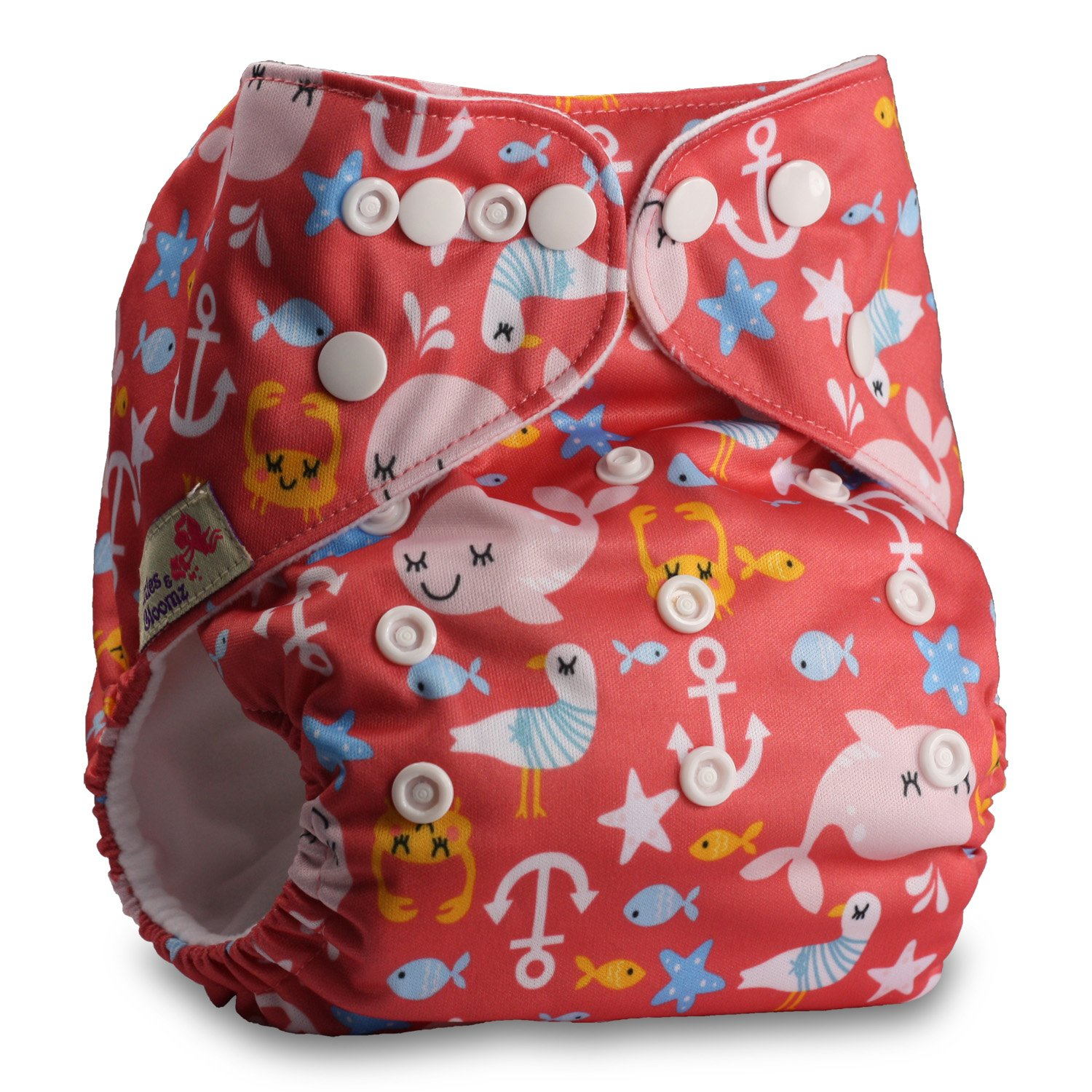 Littles /& Bloomz Pattern 71 with 1 Bamboo Insert Fastener: Popper Reusable Pocket Cloth Nappy Set of 1