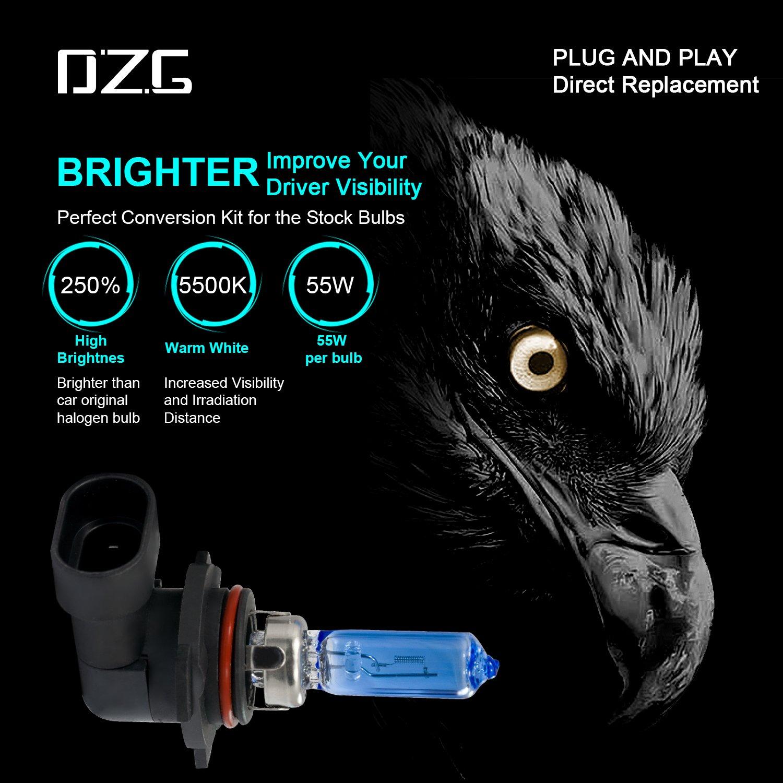 Amazon.com: DZG 9012 Halogen Headlight Bulbs HIR2 5500K Warm White 12V 55W-2 Pack: Automotive