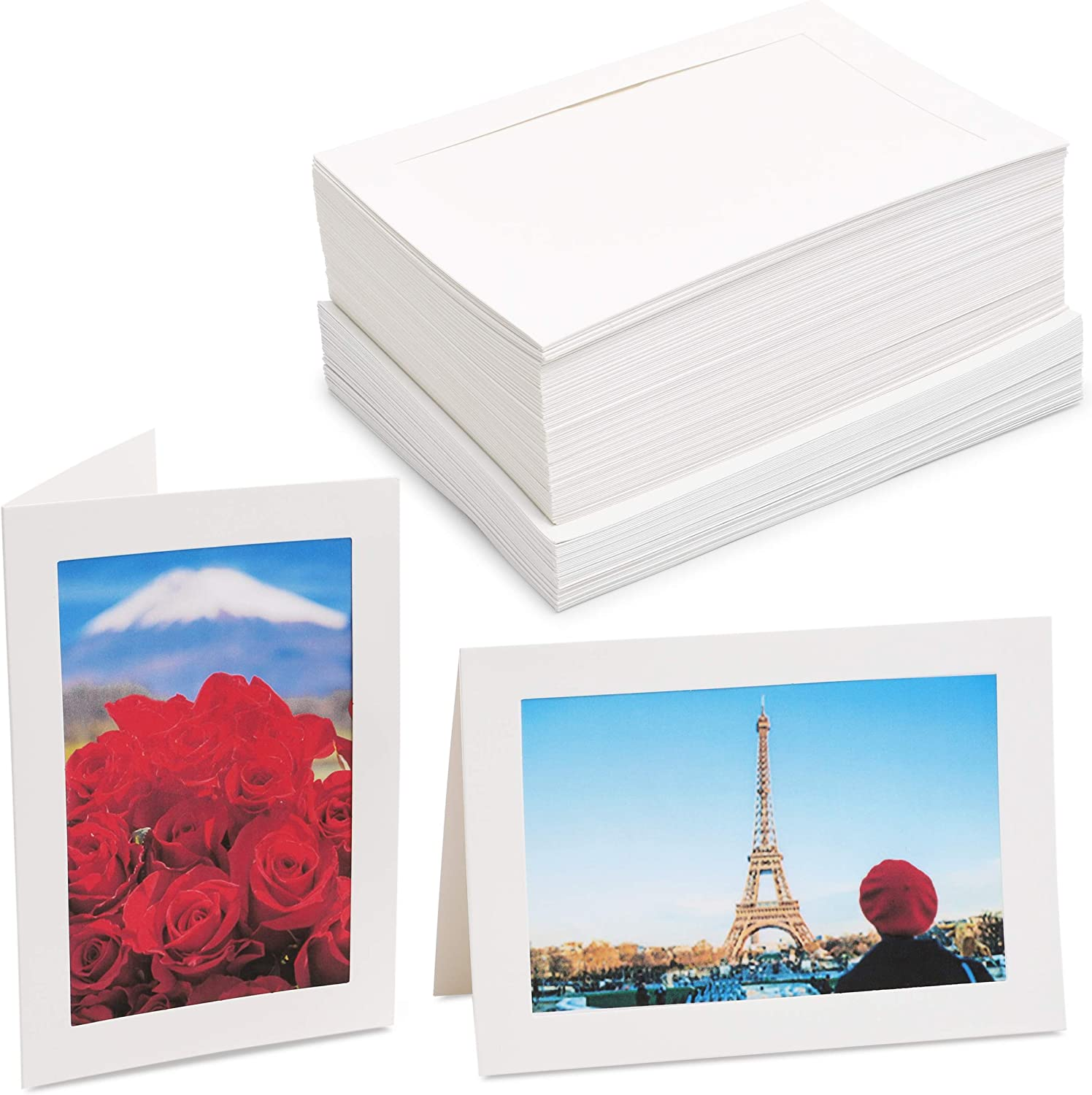 Picture Frame Note Cards for 4x6 Photo Inserts with Envelopes (White, 48-Pack)