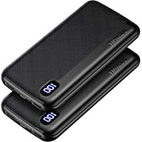 GETIHU Portable Charger, [2 Pack] Slimmest USB C Triple 2.4A High-Speed LED Display 10000mAh Power Bank, External…