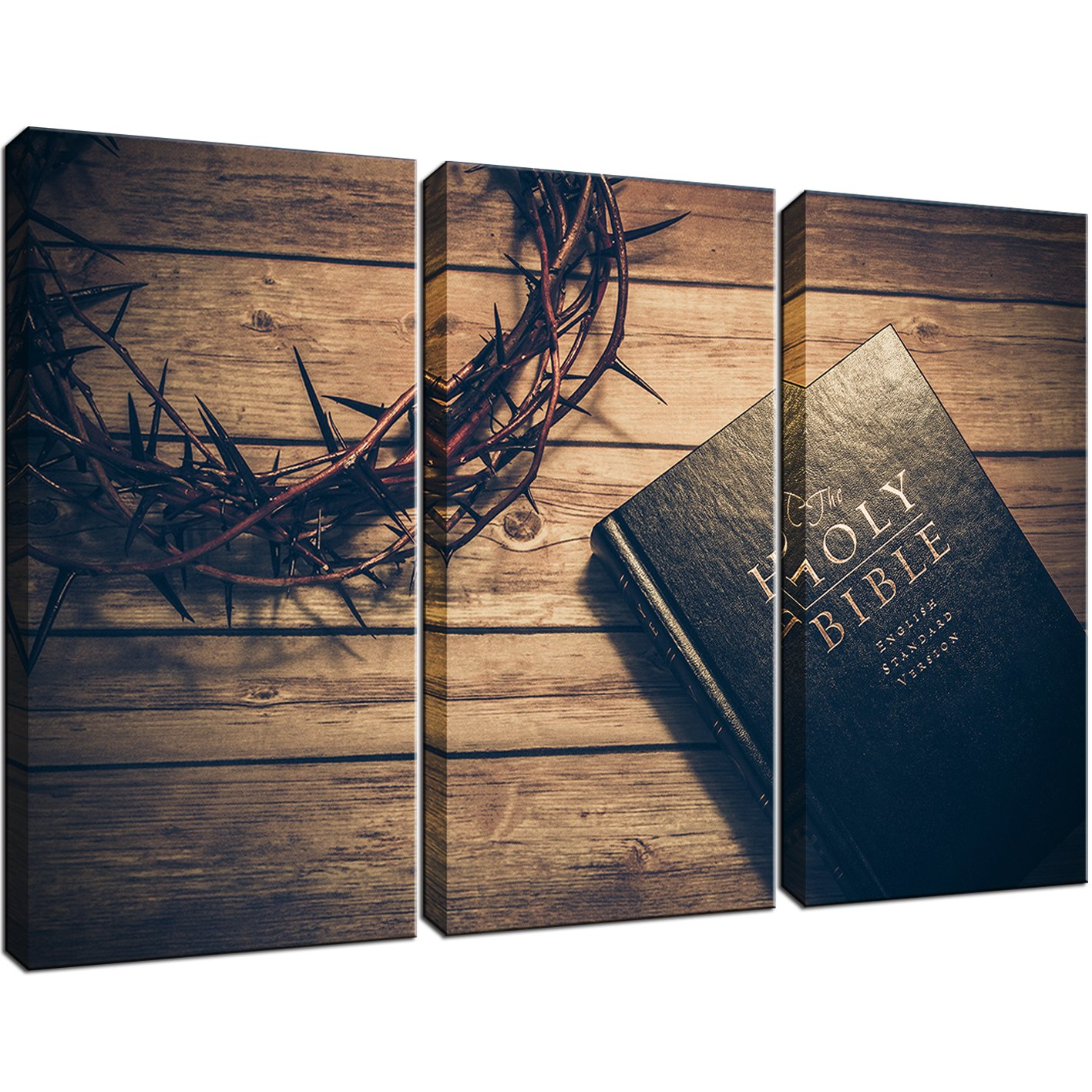 KLVOS - 3 Panels The Christian Bible Painting and Crown of Thorns Posters Religion Pictures for Rustic Home Decor Gift Stretched and Framed Ready to Hang 16''x32''x3