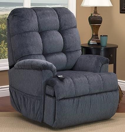 Medlift 5555 VEL Vista Sleeper/ Reclining Lift Chair, Elemental Blue