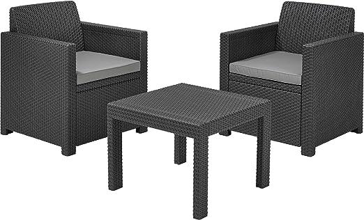 Keter - Allibert Allegro - Juego de 2 sillones y mesa de centro de ratán para jardín o patio: Amazon.es: Jardín