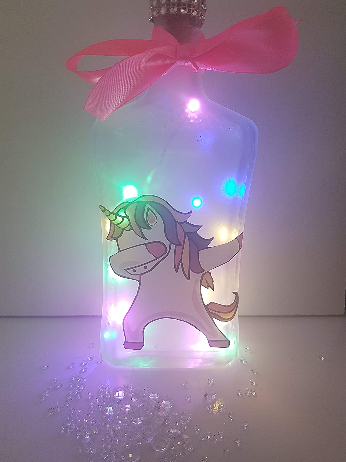Name can be added free Dabbing unicorn light up bottle/lamp.