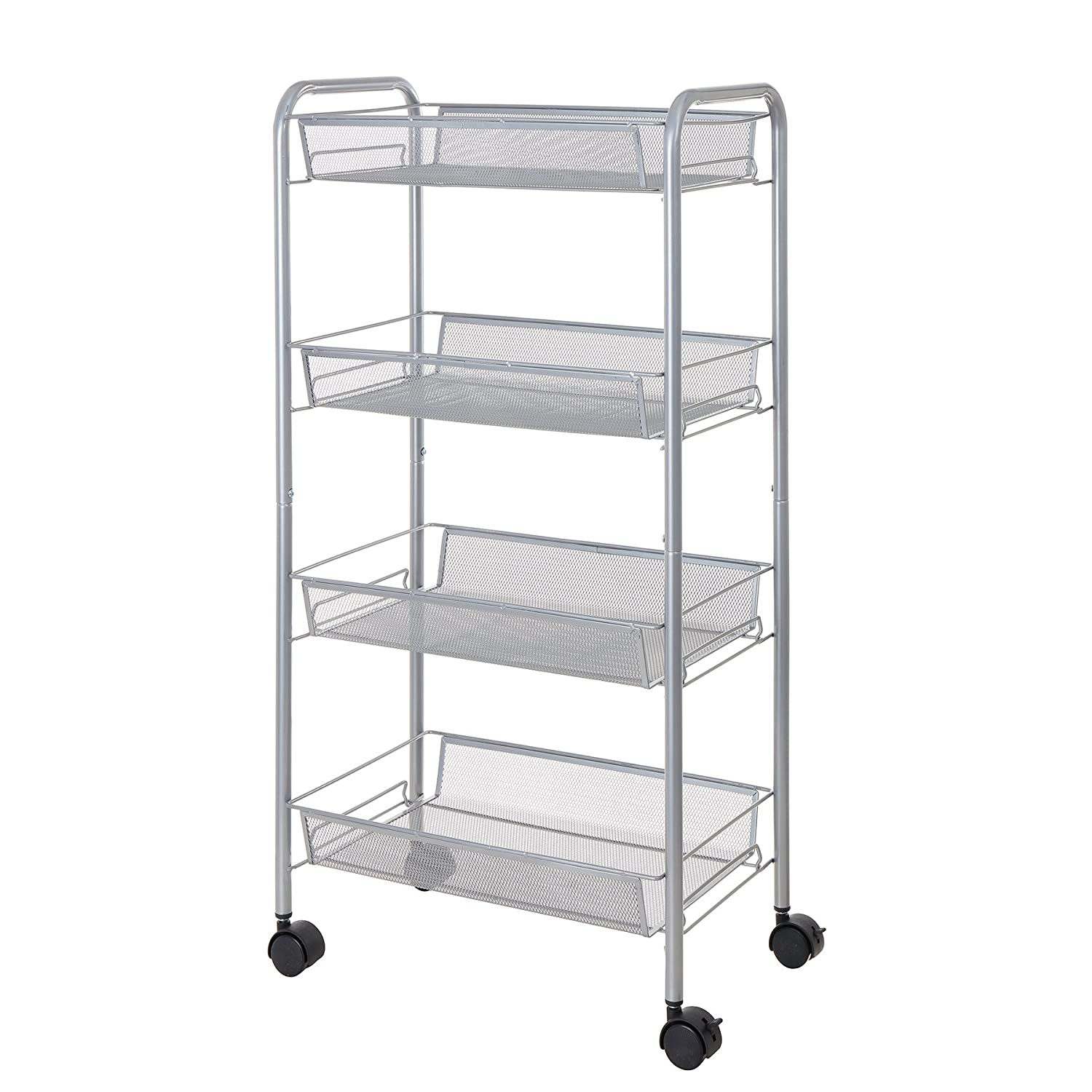 Finnhomy Mesh Rolling Cart 4-Tier Utility Storage Cart Office Suppliers Laundry Cart Space Saver for Home Accessories Kitchen Silver