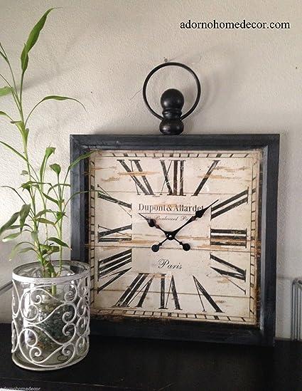 Genial Large Metal Square Paris Decor Wall Clock
