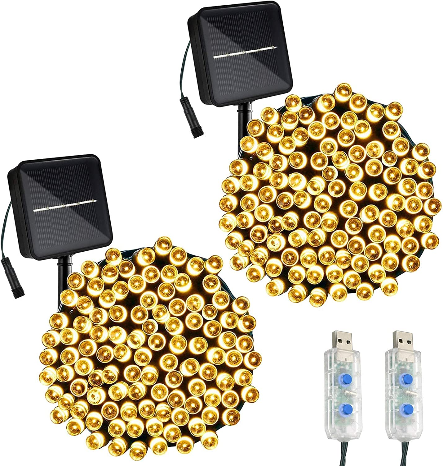 Solar Fairy Lights with USB Powered for Outdoor/Indoor Decorations, 8 Modes Waterproof String Lights for Bedroom/Garden/Patio, 2 Packs 100 LED 39.4ft(Warm White)
