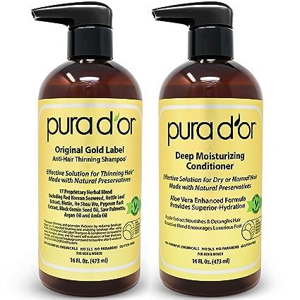 PURA DOR - Juego de champú y acondicionador de terapia hidratante profunda, con ingredientes orgánicos y naturales para todos los tipos de cabello, ...