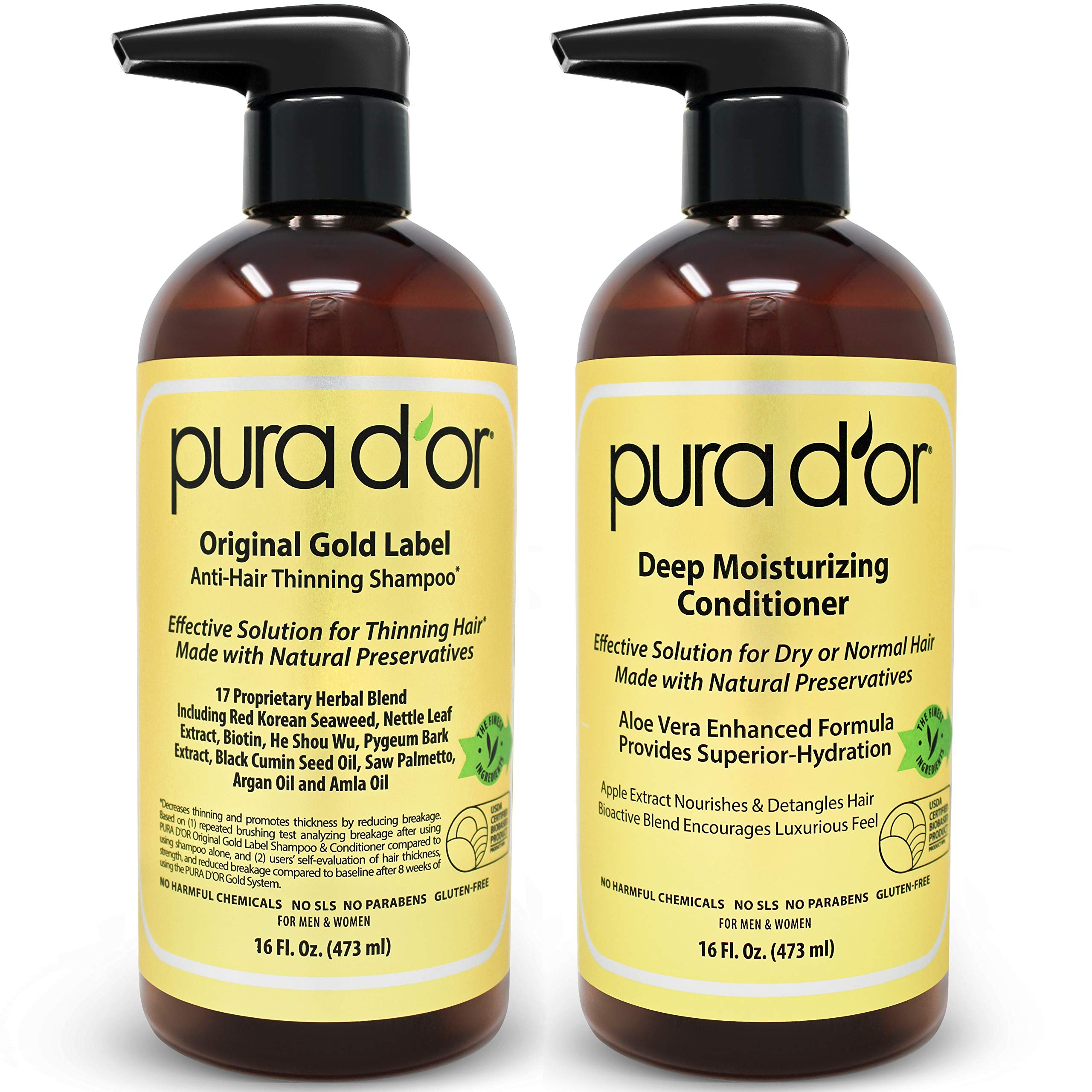 PURA D'OR Gold Label Anti-Thinning Deep Moisturizing Therapy Shampoo & Conditioner Set, Clinically Tested Effective Solution, Infused with Natural Ingredients for All Hair Types, Men & Women