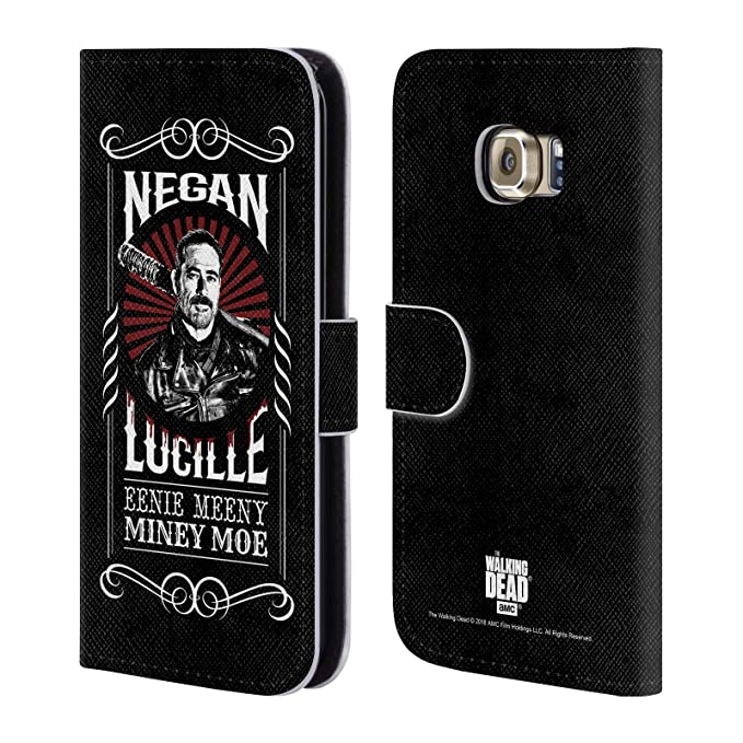 Official AMC The Walking Dead Lucille Negan Biker Art Leather Book Wallet  Case Cover for Samsung Galaxy S6 Edge
