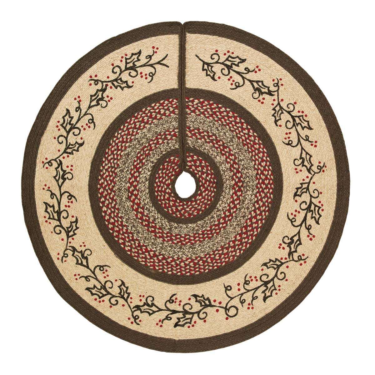 VHC Brands Christmas Holiday Decor - Holly Berry Jute Red Stenciled 48'' Tree Skirt