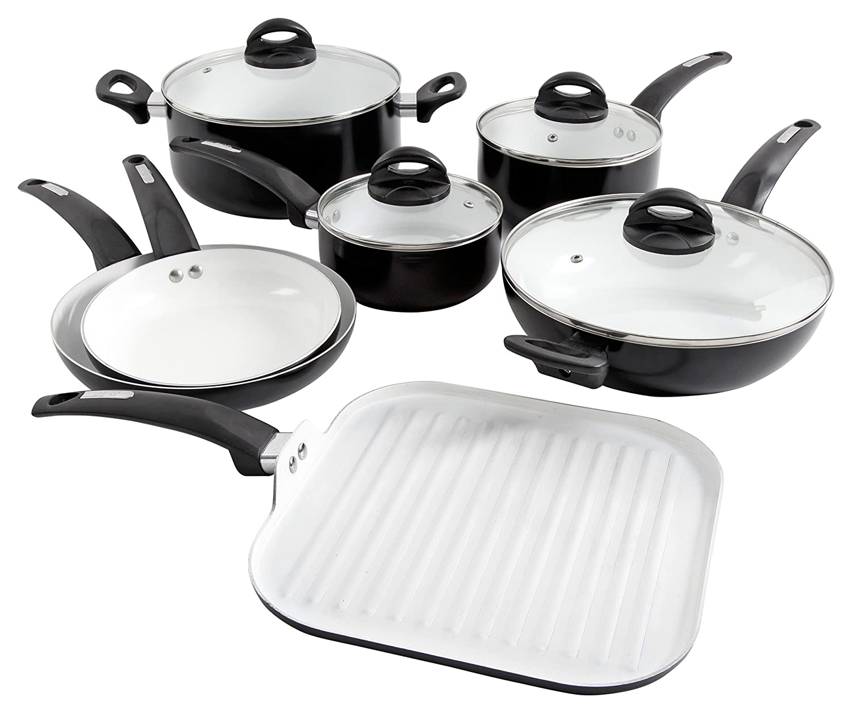 Oster Cocina 107307.11 Herstal 11 Piece Aluminum Cookware Set Ceramic Interior Black Exterior, Stainless Steel