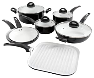 Oster Cocina 107307.11 Herstal 11 Piece Aluminum Cookware Set Ceramic Interior Black Exterior, Stainless Steel