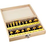 "Yonico 17150q 15 Bit Multi- Profile Router Bit Set with 1/4"" Shank"